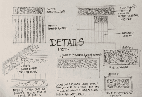 Architecture Conservation: A photo of Atiqah's sketch on details motif in a traditional Malay house. Use for further study and analysing.