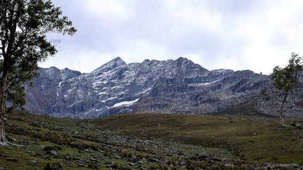 The stark and rocky mountain as we approached Shekwas is made even more austere on a blustery afternoon.