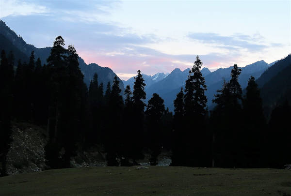 Sunset at our camp in Lidderwat.