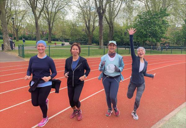 Four runners on the pre-marathon training.