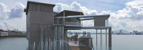 An exterior photo of my proposed building for the Visitor Interpretive Centre at Yeoh Jetty.