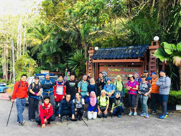 The team at the entrance of Taman Hutan Lagenda Gunung Ledang before our hike to the summit.