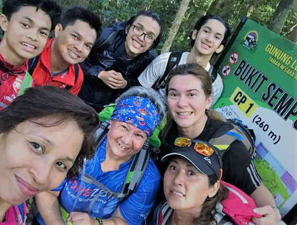 Our band of eight at the first checkpoint on the hike to Gunung Ledang.