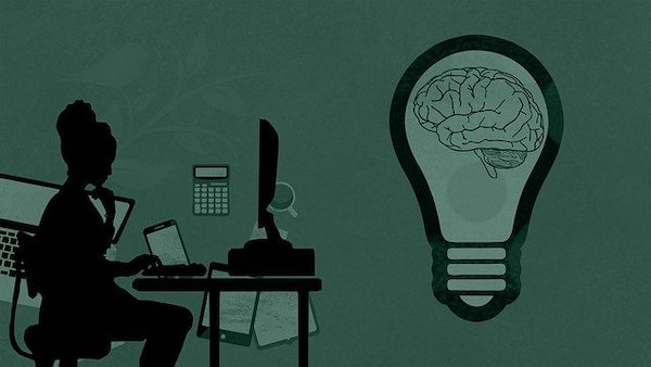 A photo of a girl sitting behind the computer and a brain in a lightbulb on the right where it gives a message to think before you type.
