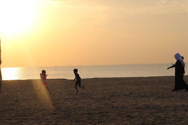 A photo of one of the beach in Saudi Arabia where Atiqah's sibblings are running around.