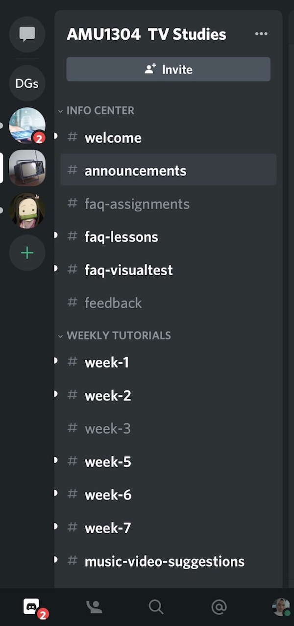 A discord app screenshot of tabs consisting of information for school work. This is the new communication tool for university freshman.