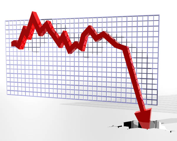 Visual representation of market crash in a graph, indicating the bad economic situation in 2020.