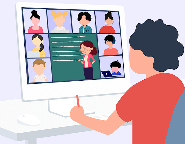 A cartoon animation of a male teenager watching an online lecture with his other classmates on a desk. New freshman's being the first to start school during a pandemic.