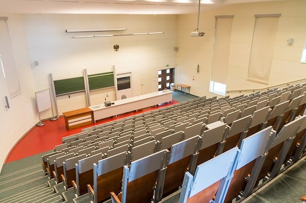 A university freshman's nightmare of a completely empty lecture hall.