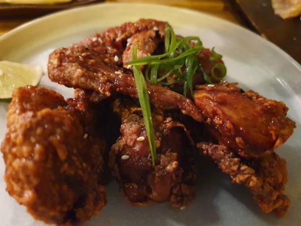korean style fried chicken wings.