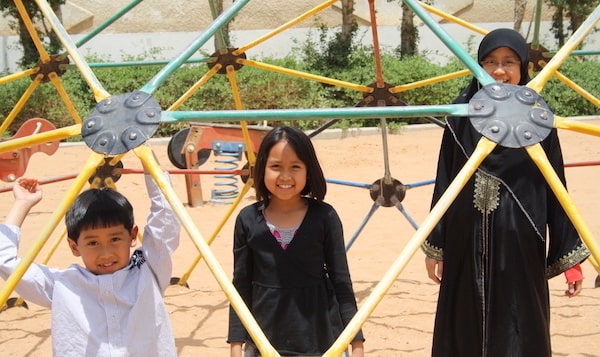 Expat Life: A photo of Atiqah and her sibblings in one the parks in Riyadh.