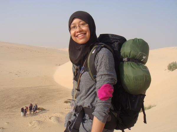 Expat: A photo of Atiqah in the desert during the  camping trip for Duke of Edinburgh Program in Saudi Arabia