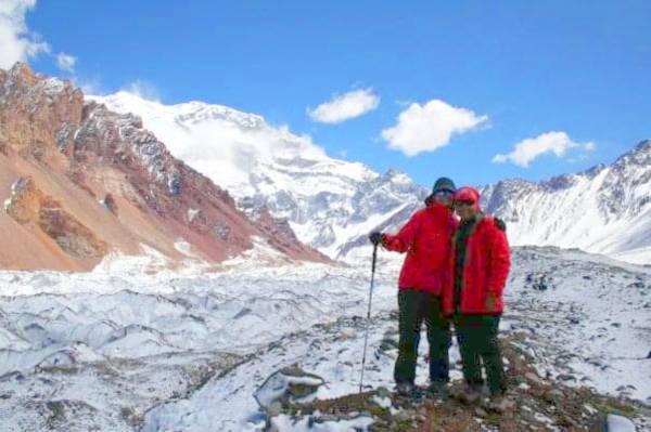 Shereen and Renée at Plaza Francia, a glacier at Mount Aconcagua