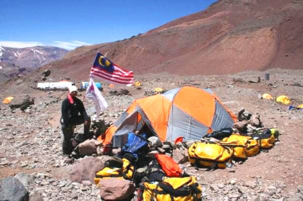 Outside the tent at the foothills of Mount Aconcagua.