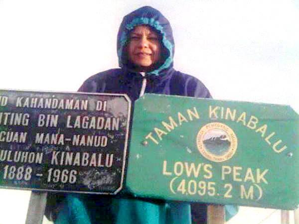 At the peak of Mount Kinabalu.