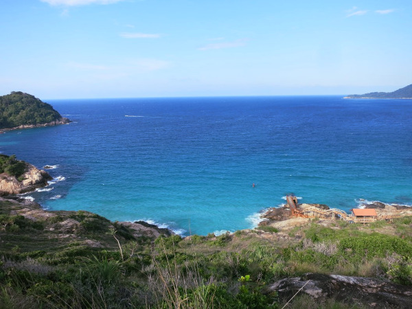 Perhentian Island - sprawling sea view from atop a hill. Diving and hiking are both available on the island.