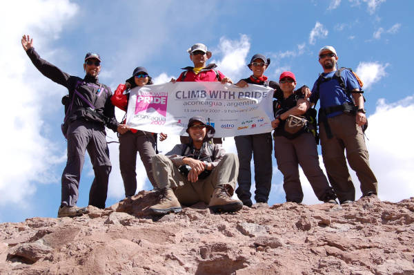 A group photo of the Climb With Pride, Aconcagua team to raise cancer awareness.