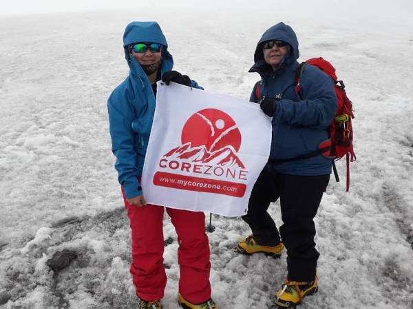 Renée and Leong Dee Lu of Corezone. They had sought to summit Mount Elbrus on one of Renée's cancer journey