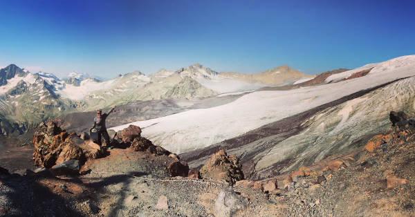 Renée en route to the base camp at Mount Elbrus.