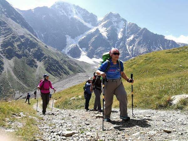 The Kembara Srikandi Prihatin team on an acclimatisation hike before attempting to summit Mount Elbrus.