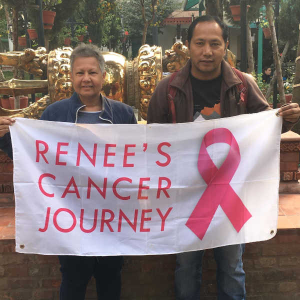 Renée's Cancer Journey banner in Nepal with Gokul Thapa.