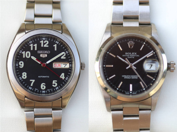 A Seiko 5 and a Rolex Oyster Perpetual Date, side-by-side, representing the all-rounder watch. Another one of the three watches that everyone should have.