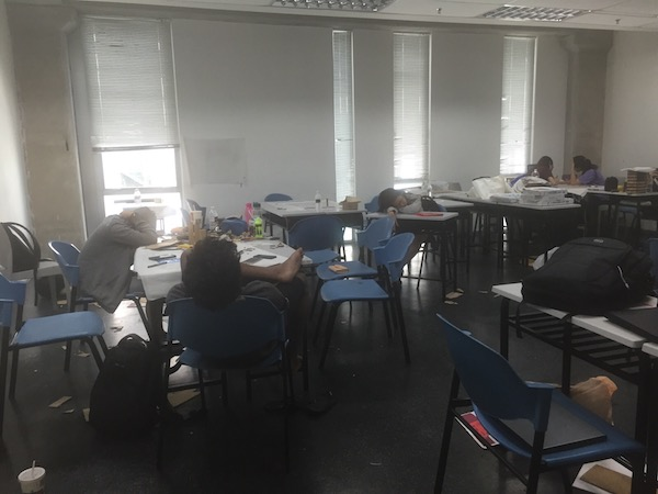 Architecture: A picture of students sleeping in the studio.