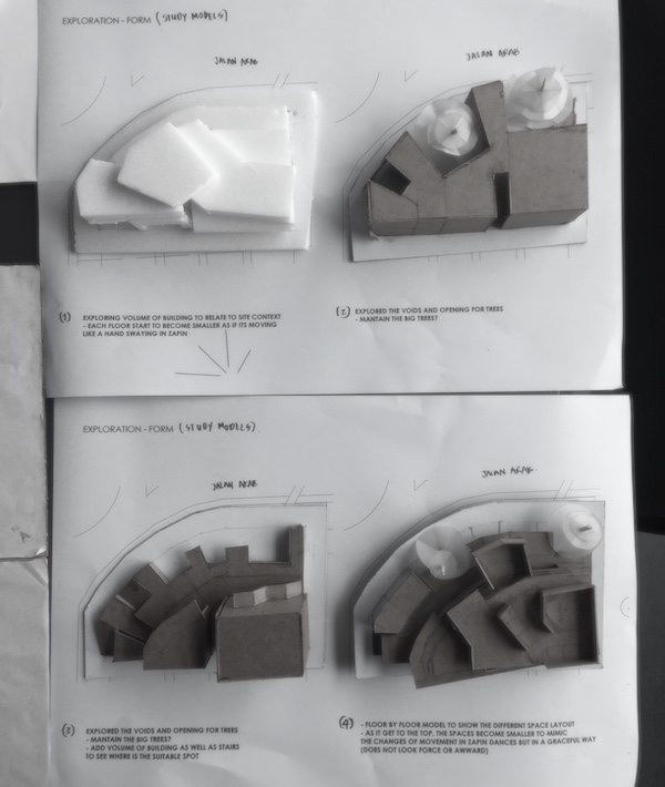 A picture of architectural study models made by Atiqah.