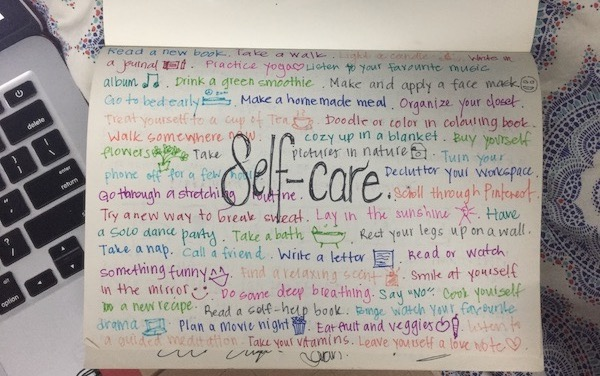 A picture of Atiqah's journal about self-care.