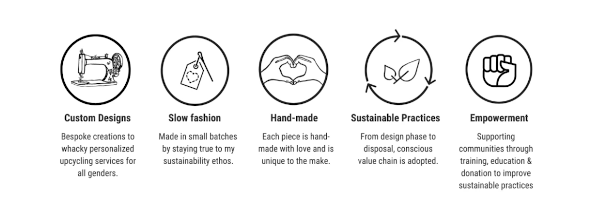 The 5 main pillars of beliefs as set by Mahenaz herself: custom designs, promote slow fashion, hand-made, sustainable and empowering small communities through sustainable practices.