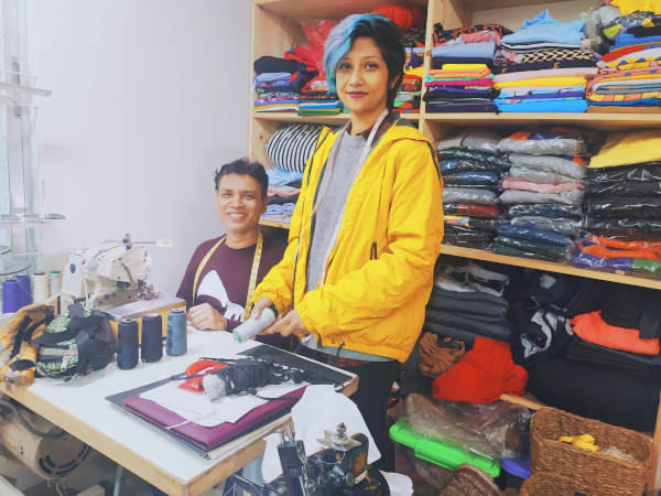Mahenaz works very closely with her in-house tailor, M.D. Babul, to come up with creative clothing designs.