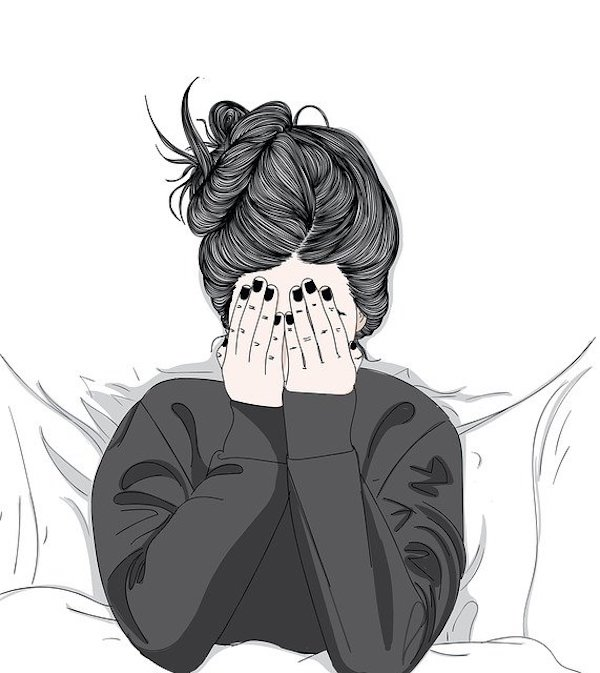 A picture of a girl feeling stressed and covering her face with her hands.