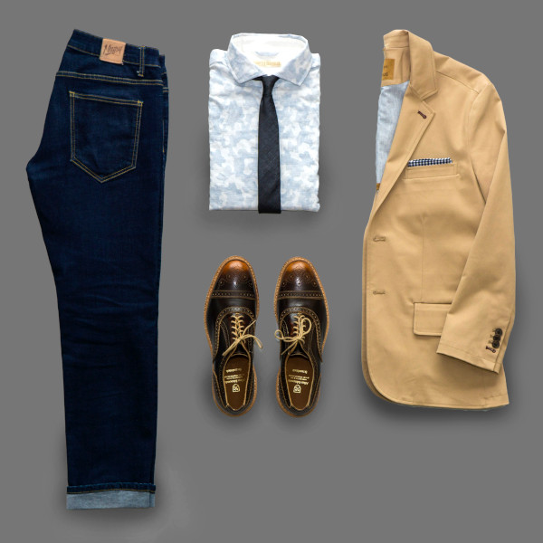 Combination of garments that are laid out flat to make a complete casual outfit.
