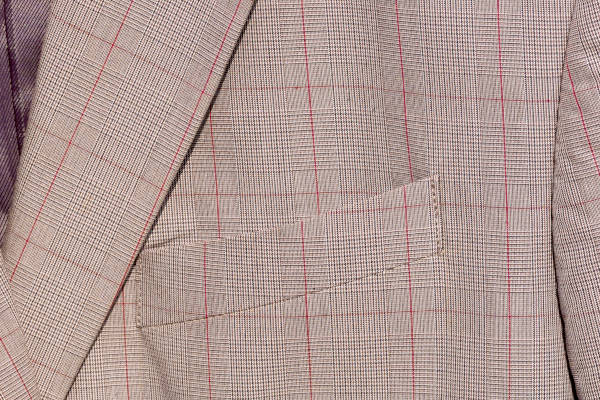 Close-up on the chest piece of a cotton-mix sport jacket.