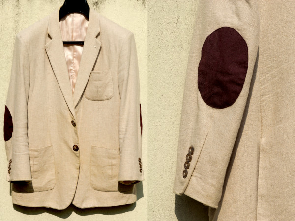 A compound image of the back and front of a linen sport jacket, showcasing the contrasting elbow patch.