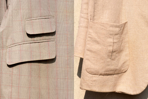 A side-by-side image displaying the more formal flap pocket against the less formal patch pocket of the sport jacket.