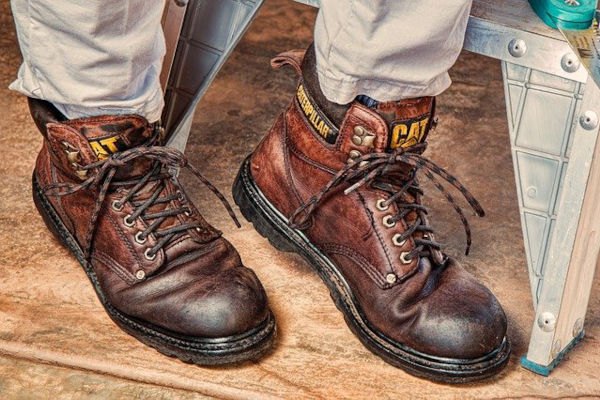 A pair of safety boots, showcasing the ultimate protection of one's feet in the toughest environments that they have to work in.