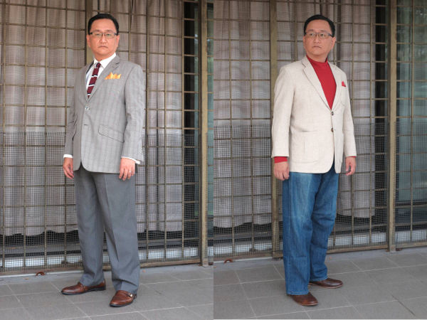 Side-by-side comparison between business casual and dressy casual. Business casual by matching a sport jacket with dress trousers and tie. Dressy casual by matching a sport jacket with mock-neck t-shirt and jeans.