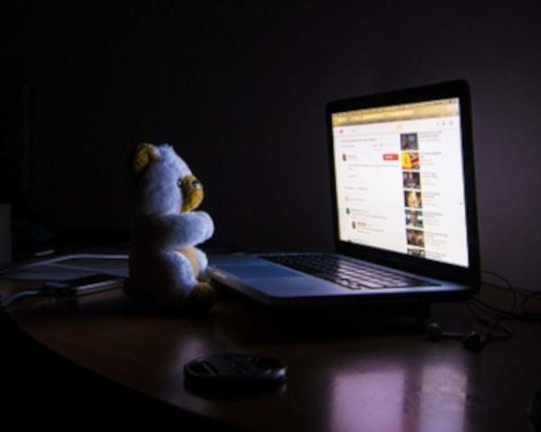 Teddy bear staring at computer screen