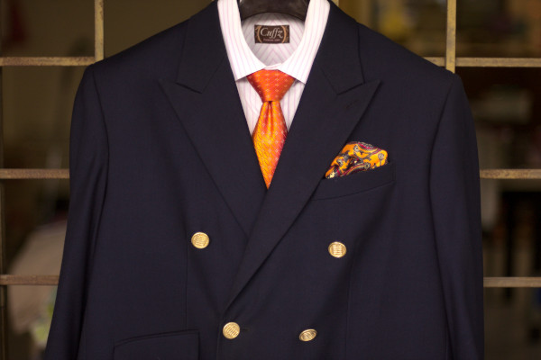 Close-up of a blazer combo as described in the caption.