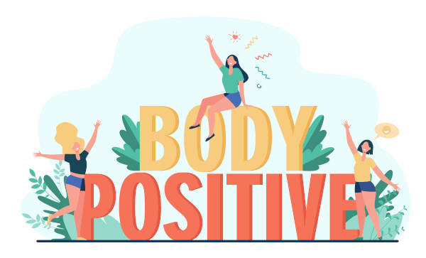 """Three happy female cartoon characters of different figure types, raising their arms in jubilation around the term """"BODY POSITIVE"""""""