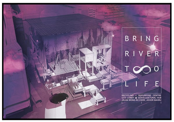 """Natasya's final semester project of a a Repurpose and Recycling Centre as well as a socio-cultural hub at Johor Bahru. The concept is """"Bring River To Life""""."""