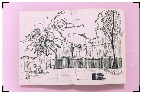 A photo of one of the sketches Natasya had drawn during her participation with KL Urban Sketchers.
