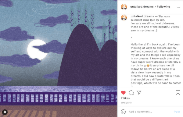 Natasya Jasmin's art instagram page, with an artwork that tells the story of a view she saw in a dream.