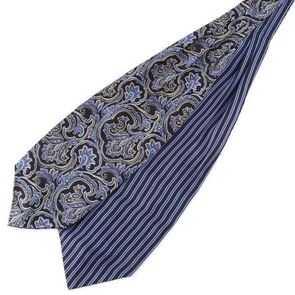 Image of a double-sided cravat displayed flat on a table.