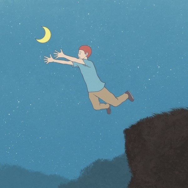 A picture of a boy jumping from a cliff and trying to grasp the moon in the sky. A metaphor for doing things that you fear.