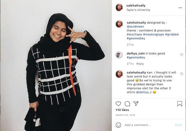 A screenshot of Salehah's instagram post of her fashion show project of designing a shirt.