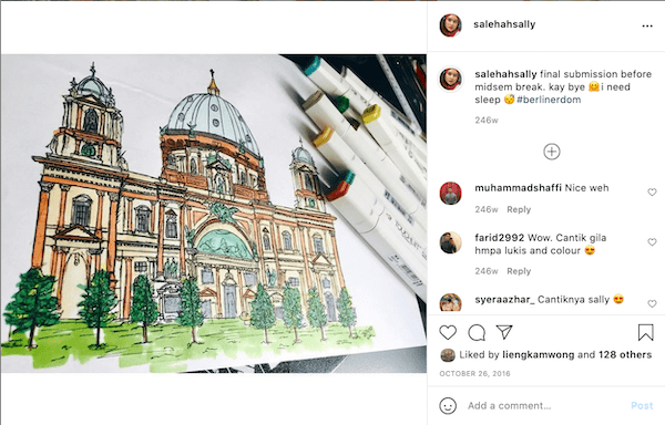 A screenshot of Salehah's instagram post of one of her sketches coloured with markers.