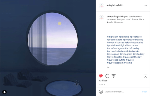 A photo of Sally's instagram post of her digital artwork.