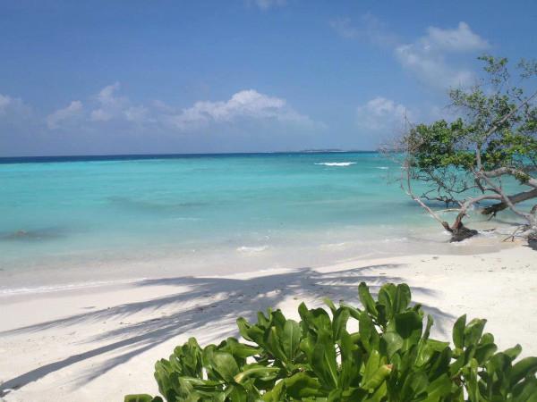 View of the sea overlooking the beach off Maafushi, Maldives